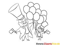 Luftballons zum 4 Juli - Vorlagen zum Ausmalen und Ausdrucken gratis