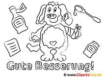 Hund Gute Besserung Ausmalbilder gratis für Kinder