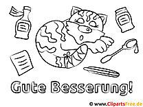 Katze Gute Besserung Ausmalbilder gratis für Kinder