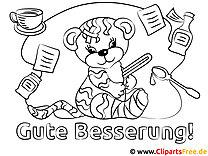 Kranker Tiger Gute Besserung Malvorlagen kostenlos für Jung und Alt