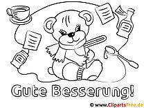 Teddybär Gute Besserung Malvorlagen kostenlos für Jung und Alt