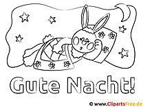 Hase Gute Nacht Ausmalbild für Kinder kostenlos ausdrucken