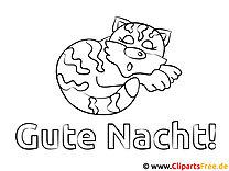 Katze Gute Nacht Ausmalbild für Kinder kostenlos ausdrucken
