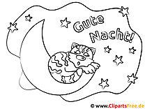 Katze schläft auf dem Mond Gute Nacht Ausmalbilder kostenlos
