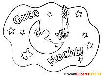 Mond Kerze Gute Nacht Ausmalbilder für Kinder kostenlos ausdrucken