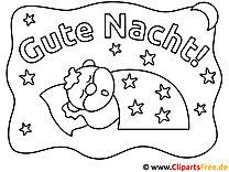 Schlaf Gute Nacht Ausmalbild für Kinder kostenlos ausdrucken