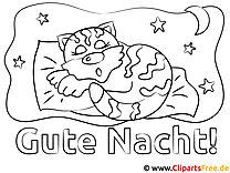 Schlafende Katze Gute Nacht Malvorlagen