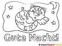 Schlafende Katze Gute Nacht Malvorlagen kostenlos für Jung und Alt
