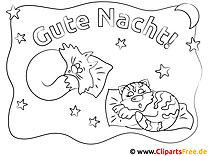 Schlafende Katzen Gute Nacht Grafiken zum Ausmalen