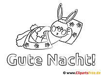 Schlafender Hase Gute Nacht Ausmalbild