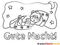 Schlafendes Schwein Gute Nacht Ausmalbild für Kinder kostenlos ausdrucken