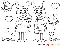 Verlobte Hasen Bilder zum Ausmalen