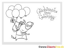 Bull Luftballons Glückwunschkarte zum Drucken und Ausmalen