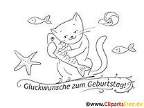 Fisch Katze Ausmalbild - Geburtstag Bilder kostenlos