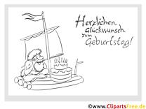 Floß Kuchen Vorlage zum Ausmalen zum Geburtstag