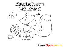 Fuchs Kuchen Geburtstag Ausmalbild-Grusskarte