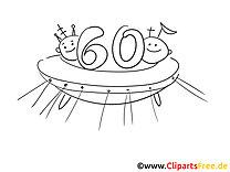 Kostenlose Geburtstag Malvorlage Sechzig UFO