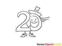 Kostenlose Geburtstag Malvorlage Zwanzig Hut