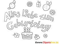 Kuchen Geburtstag Ausmalbild-Grusskarte
