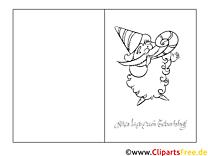 Lammfell Vorlage Grusskarte zum Ausmalen und Drucken