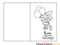 Mädchen Ausmalbild-GlБckwunschkarte zum Ausmalen