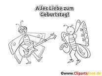 Schmetterlinge Malvorlage - Grusskarten zum Geburtstag selbst basteln