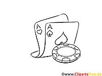Ass Spielkarte Bild , Illustration schwarz-weiß zum Ausmalen