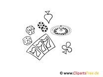 Casino Bild, Illustration schwarz-weiß zum Ausmalen