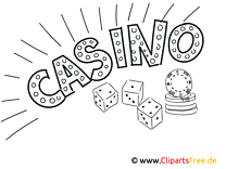Casino black and white Coloring