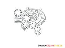 Casino Illustrationen schwarz-weiß zum Drucken und Ausmalen