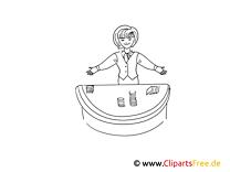Croupier Bild , Illustration schwarz-weiß zum Ausmalen
