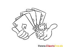 Fokus Spielkarten - Casino Bilder zum Ausmalen