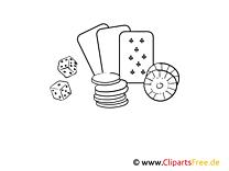 Kasino Bild, Illustration schwarz-weiß zum Ausmalen