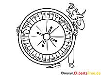 Roulette, Casino Bild , Illustration schwarz-weiß zum Ausmalen
