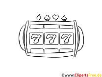 Speilautomat 777 Casino Bild schwarz-weiß zum Drucken, Malen