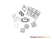 Spielbank Bild, Illustration schwarz-weiß zum Ausmalen