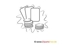 Spielkarten, Wertmpünzen Bilder schwarz-weiß zum Ausmalen
