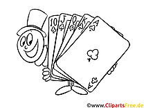 Trick mit Karten Zauberer Ausmalbild