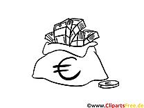 Geldsack Clipart-Bild zum Ausmalen