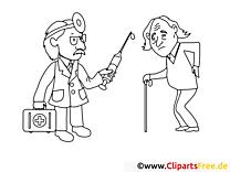 Alter Mann beim Arzt Malvorlage