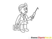 Arzt mit Spritze Ausmalbild