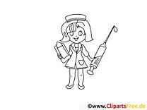 Fröhliche Krankenschwester Ausmalbilder