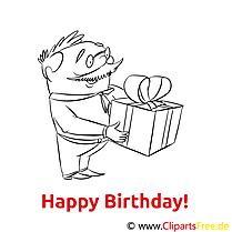 Geschenk Geburtstag Ausmalbild gratis