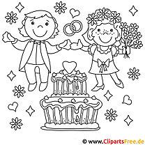 Brautpaar - Ausmalbilder Hochzeit
