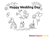 Colouring Page Happy Wedding Day