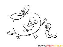 Wurm und Apfel Ausmalbilder