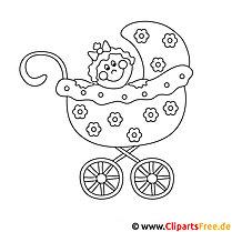 Kinderwagen Bild zum Ausmalen