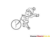 Junge fährt Fahrrad - Gratismalvorlagen zum Thema Herbst