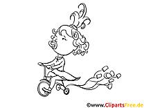 Kind auf dem Fahrrad zum Ausmalen