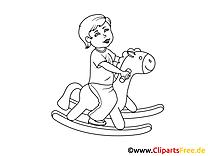 Kind auf Schaukelpferd Bild, Clipart, Illustration schwarz-weiß zum Ausmalen